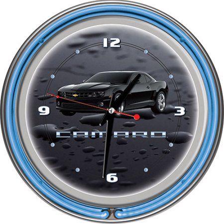 Black Camaro 14 inch Neon Clock, Gray