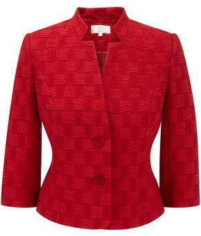 Petite Red Basket Weave Jacket