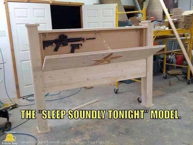 Hidden gun cabinet in your headboard ... Heck YES please!