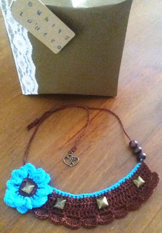 Collar crochet girasol 4