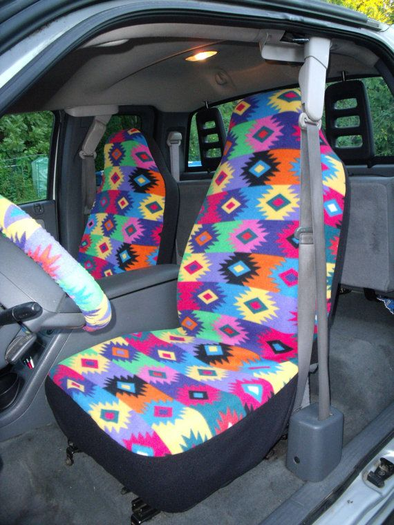 1 Set Of Pueblo Design Print Car Seat Coves And Steering Wheel Cover Custom Made