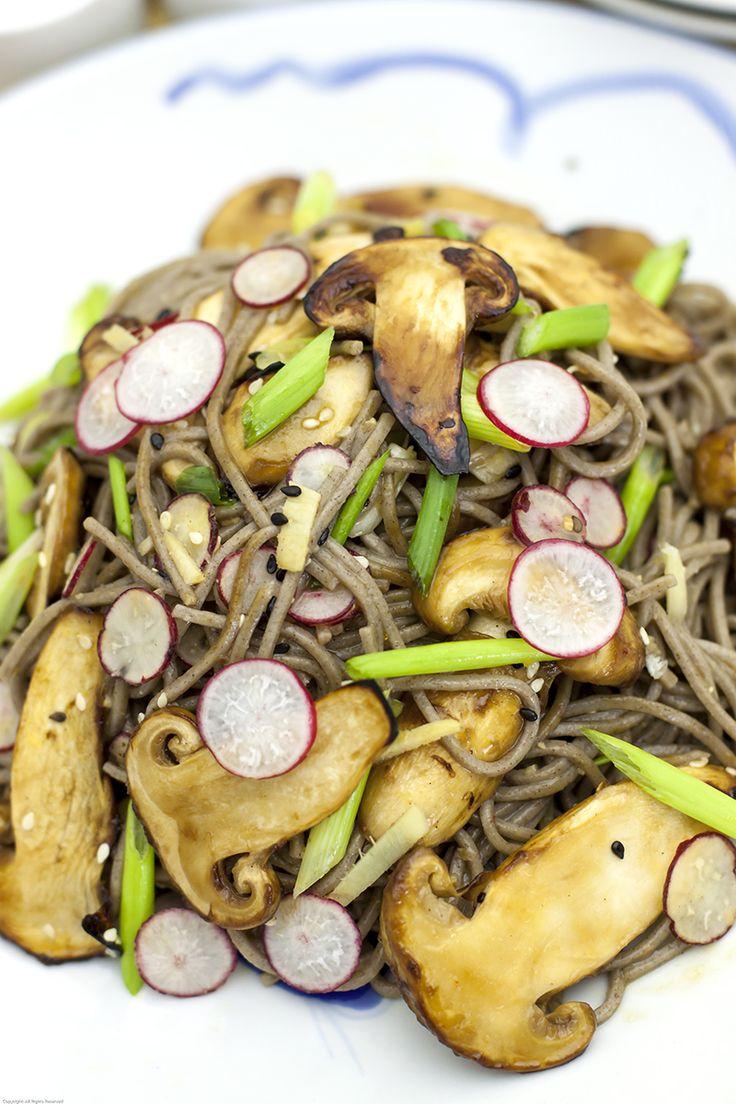 Soba Noodles with Matsutake Mushrooms closeup