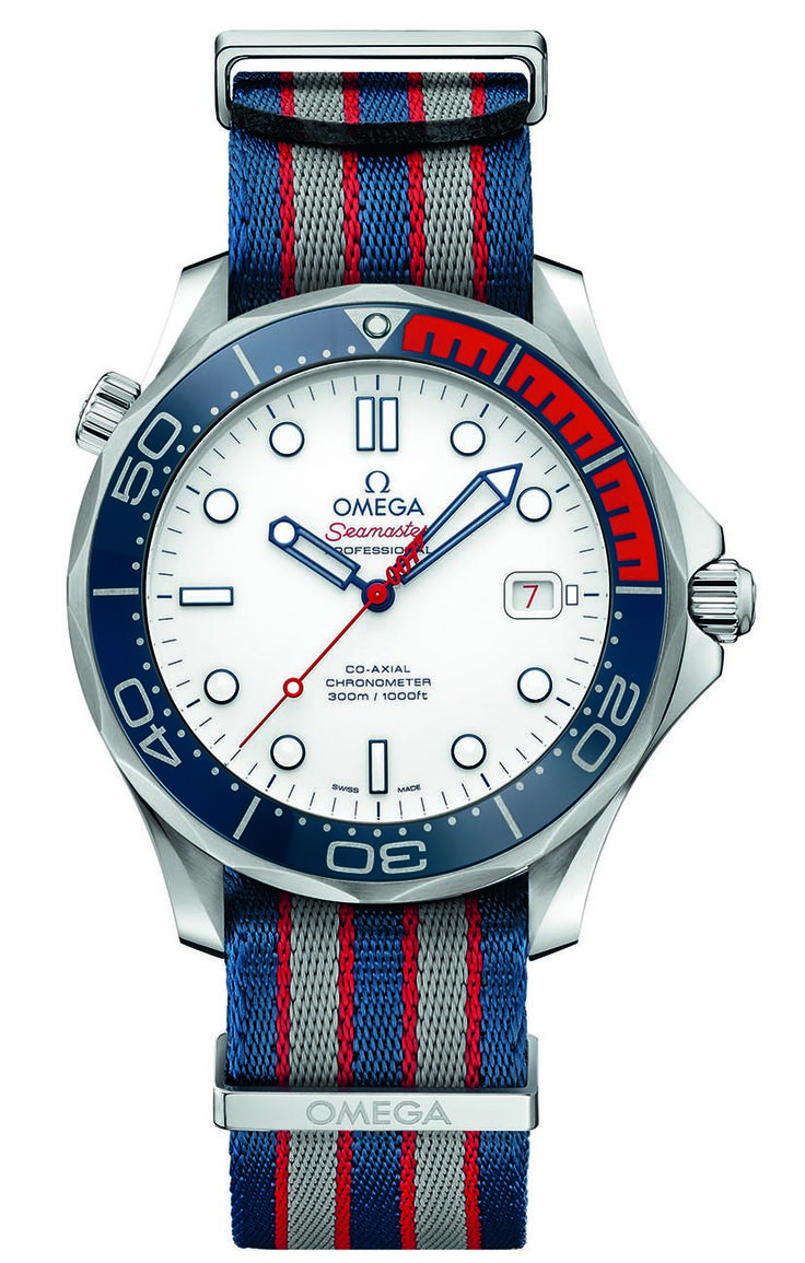 """Since 1995, when Pierce Brosnan wore a Seamaster in Goldeneye, Omega has been the watch brand of choice for James Bond. This year, Omega gives the world's most famous secret agent a new wrist companion: the Omega Seamaster 300M """"Commander's Watch"""" Limited Edition."""