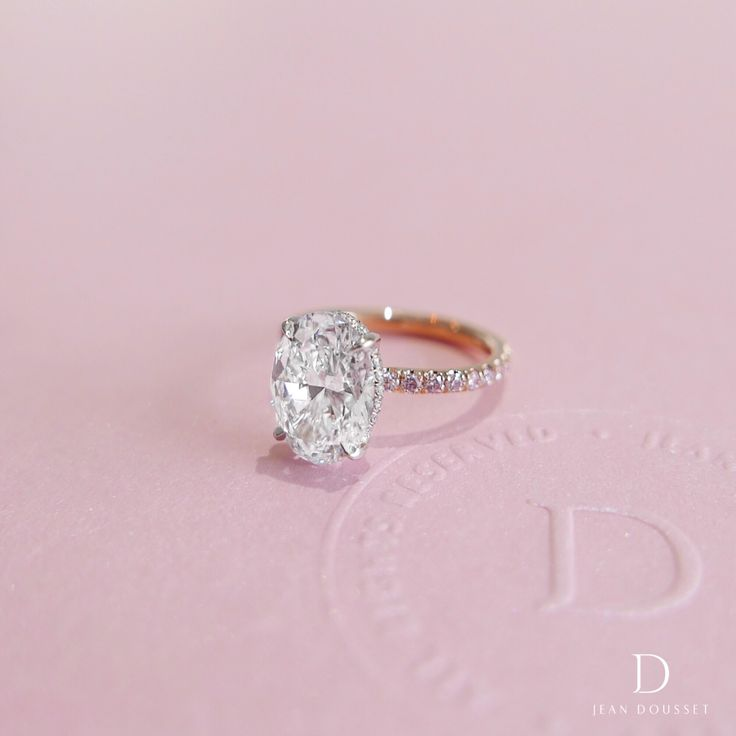 DANAE DUO Two Tone engagement ring with a 2.70+ carats Oval Cut diamond, handcrafted by Jean Dousset.