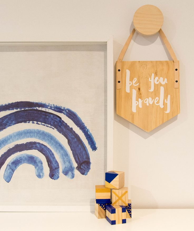 Boysroom Decor Inspiration, wooden banner from Simply Type, HookCo wooden natural hook, Fine Little Day rainbow and blocks by The Little Wooden.  Styling by Little Nook Interiors