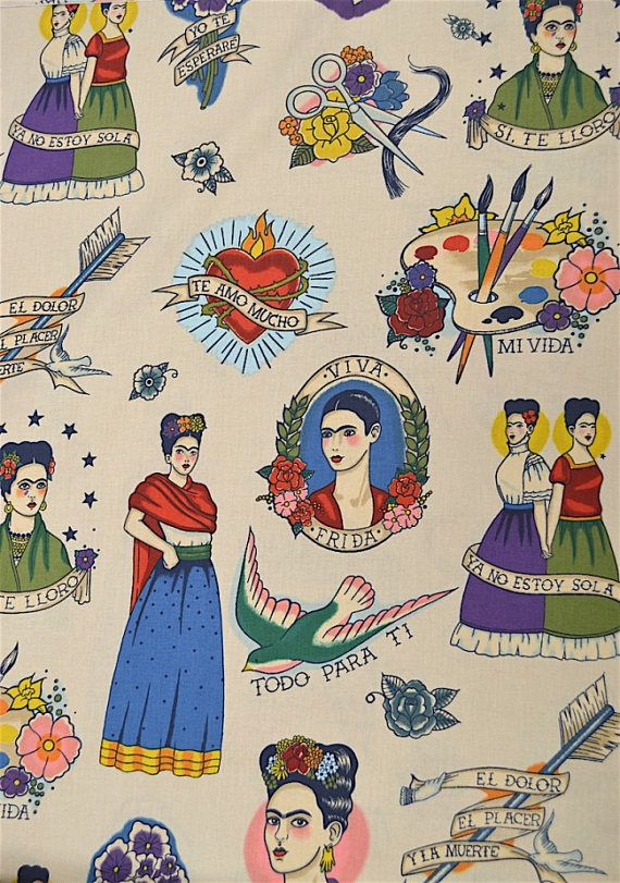Todo para tí tea Alexander Henry tela de patchwork tela de algodón tela mexicana tela para vestido Frida Kahlo tatoo old scool Frida