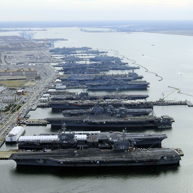 Aircraft carriers USS Dwight D. Eisenhower (CVN 69), USS George H.W. Bush (CVN 77), USS Enterprise (CVN 65), USS Harry S. Truman (CVN 75), and USS Abraham Lincoln (CVN 72) are in port at Naval Station Norfolk, Virginia  Picture: REUTERS/U.S. Navy/MC2 Ernest R. Scott