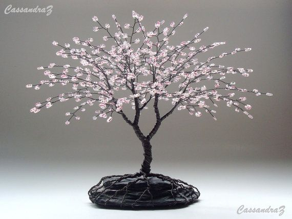 Cherry Blossom Beaded Bonsai Wire Tree Sculpture by CassandraZ