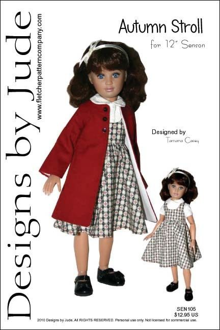 "Autumn Stroll Doll Clothes Sewing Pattern 12"" Senson Dolls Designs by Jude #DesignsbyJude"