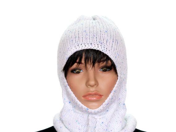 White Knit Balaclava Knitted Women's Ski Mask by ettygeller
