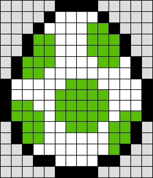 Patron / Pattern : Oeuf de Yoshi Super Mario NINTENDO en Perle HAMA (Mini)    Taille de la grille 16 x 16 (soit environ  4,0 x 4,0 cm)    Nombre de perles totales : 164 (sans le fond, que l'oeuf)
