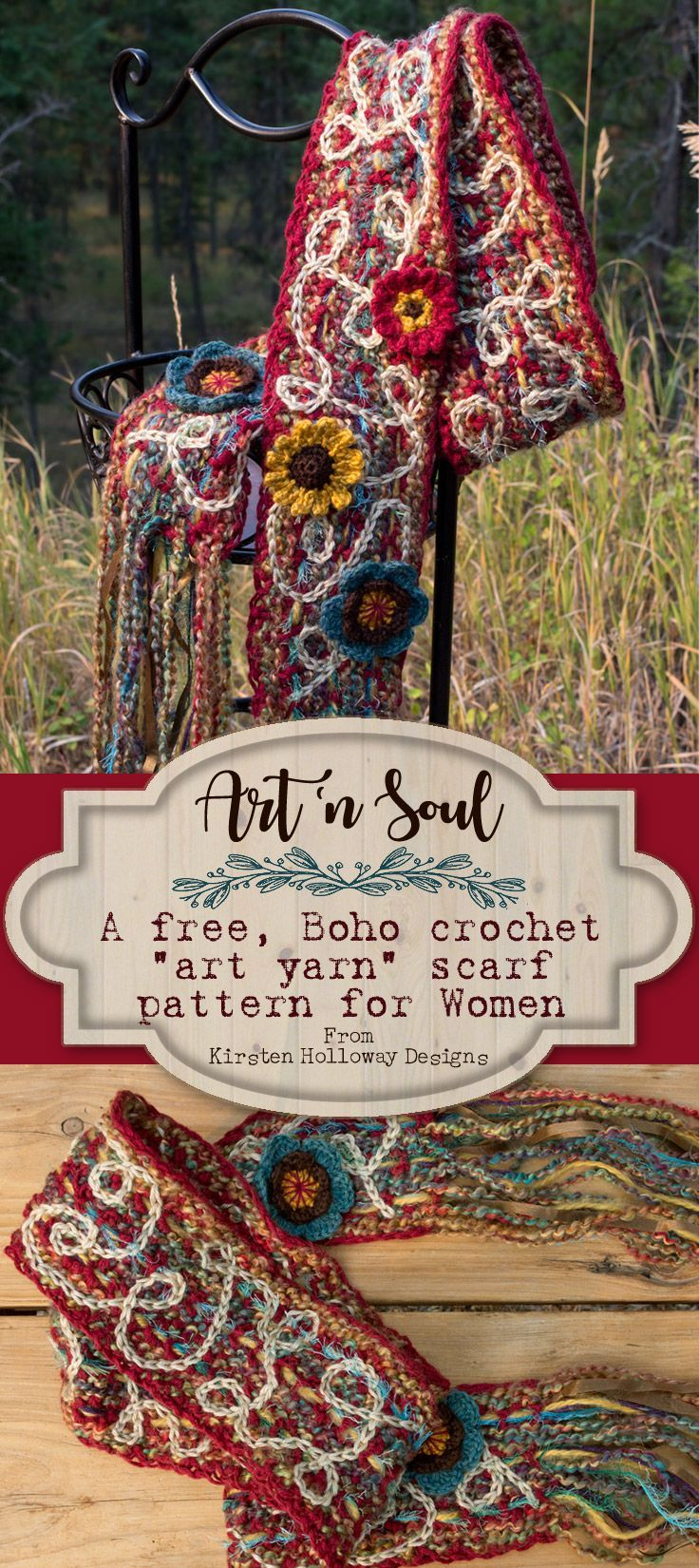 "Crochet your own unique statement piece by following this easy, free DIY pattern tutorial to create a beautiful boho or ""art yarn"" inspired scrappy scarf on a budget. It's super cute, and simple enough for a beginner to master!"