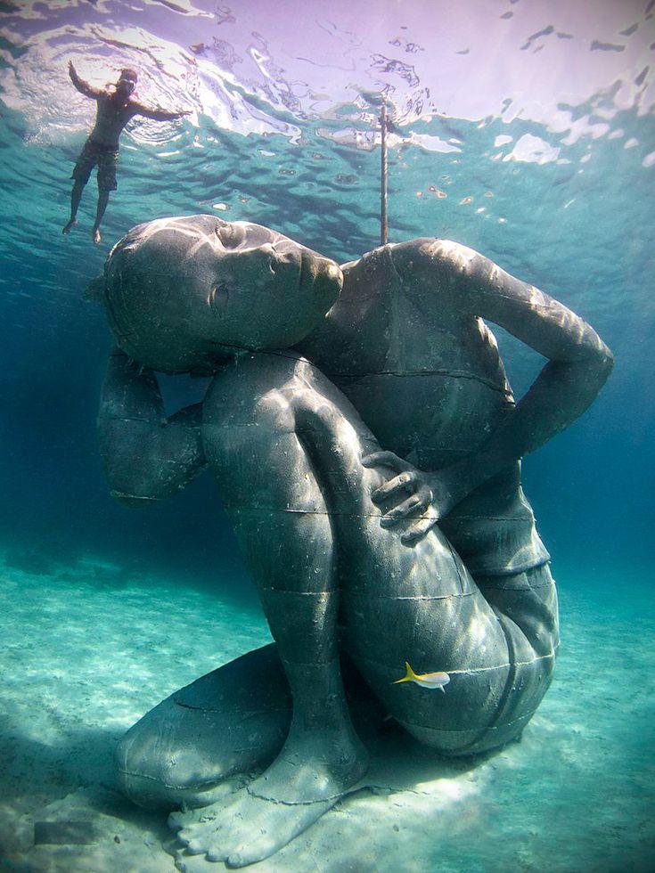 jason decaires taylor submerges ocean atlas sculpture in the bahamas - designboom | architecture