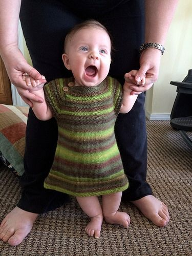 The JOY of Crystal Palace!  Marian's LIttle Sister Dress in Mini Mochi by Crystal Palace Yarns