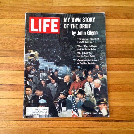 Vintage LIFE Magazine March 1962 NASA John Glenn by The Epicurean Journalist, $9.00 || #Astronaut #Space #Exploration #PresidentLyndonBJohnson #Mercury7 #The1960s #Orbit #Moon #Collectibles #Art #Decoupage #Kunst #MailArt #CollageSupplies #OnTheCover #PostOfTheDay #EtsyShopping