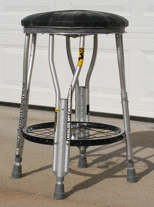 shop stool..OH MY Goodness!!! This might even be great with wooden crutches...they are so cheap