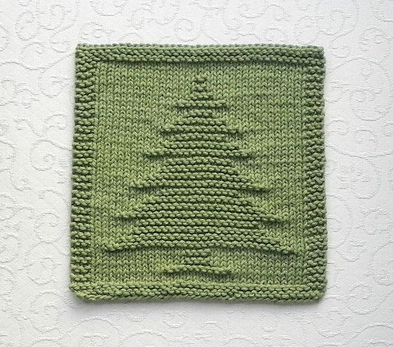 PINE TREE Knit Dishcloth. Hand Knitted Unique by AuntSusansCloset, $6.50