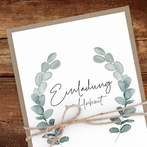 Einladung Hochzeit Eukalyptus Nachhaltig Recyclingpapier Einladungskarten Hochzeitseinladung Hochzeitskarte Floral Kraftpapier Wedding Cards Eucalyptus Wedding Invitation Wedding Invitation Cards