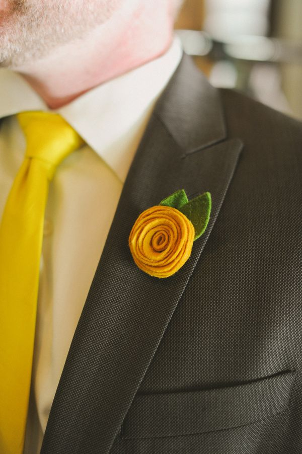 Photographer: Nadia Huerta with June Bug Company / Felt Floral Wedding Party Bouquets and Boutonnieres: Muncle Fred Art / Reception Floral Design: DIY, ruffledblog.com