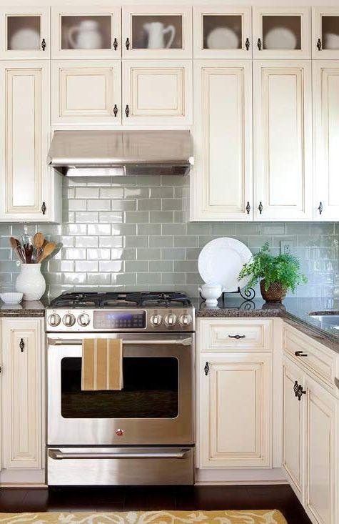 *Layout* / **Blue Kitchen / White Cabinets / Dark Floor / #backspash #cabinets