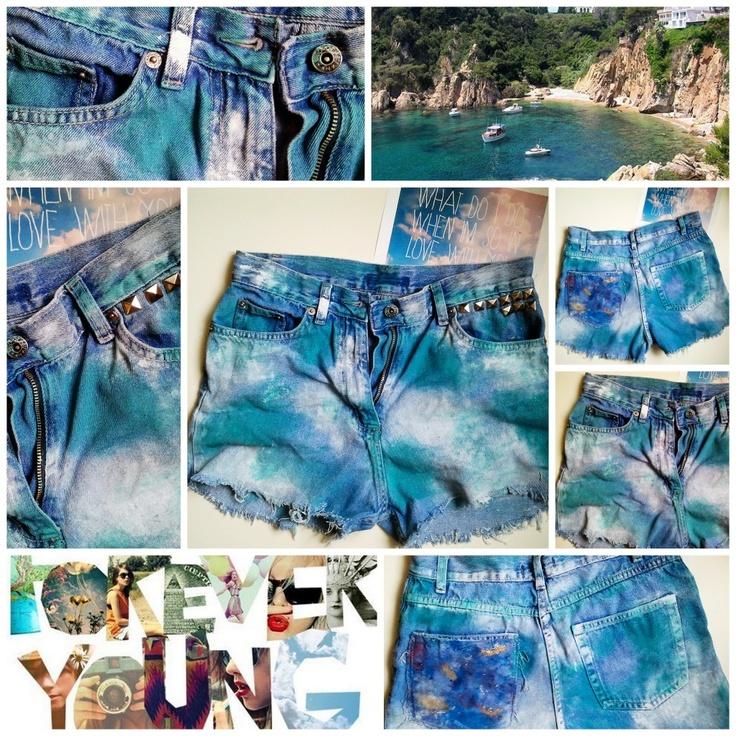 OMBRE SHORTS tęcza ćwieki miętowe galaktyka jeans!   Galaxy mint shorts