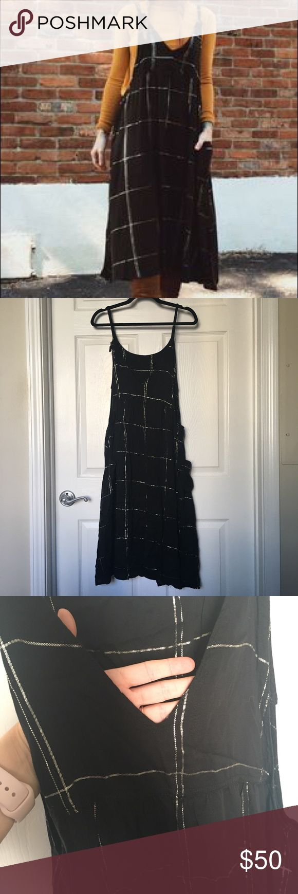 Knot Sisters Prairie Dress - S Black pinafore style dress with pocket. Gold plaid striping. Size small. Knot Sisters Dresses Midi