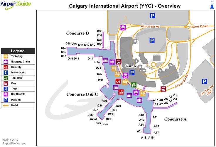 Calgary - Calgary International (YYC) Airport Terminal Map - Overview