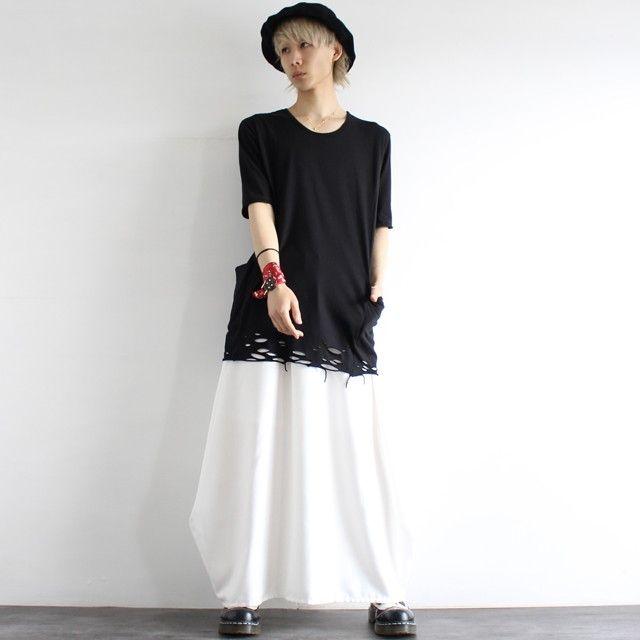 サイドポケット付きダメージヘムロングカットソー | メンズスカートなどモード系ファッションの通販 albino