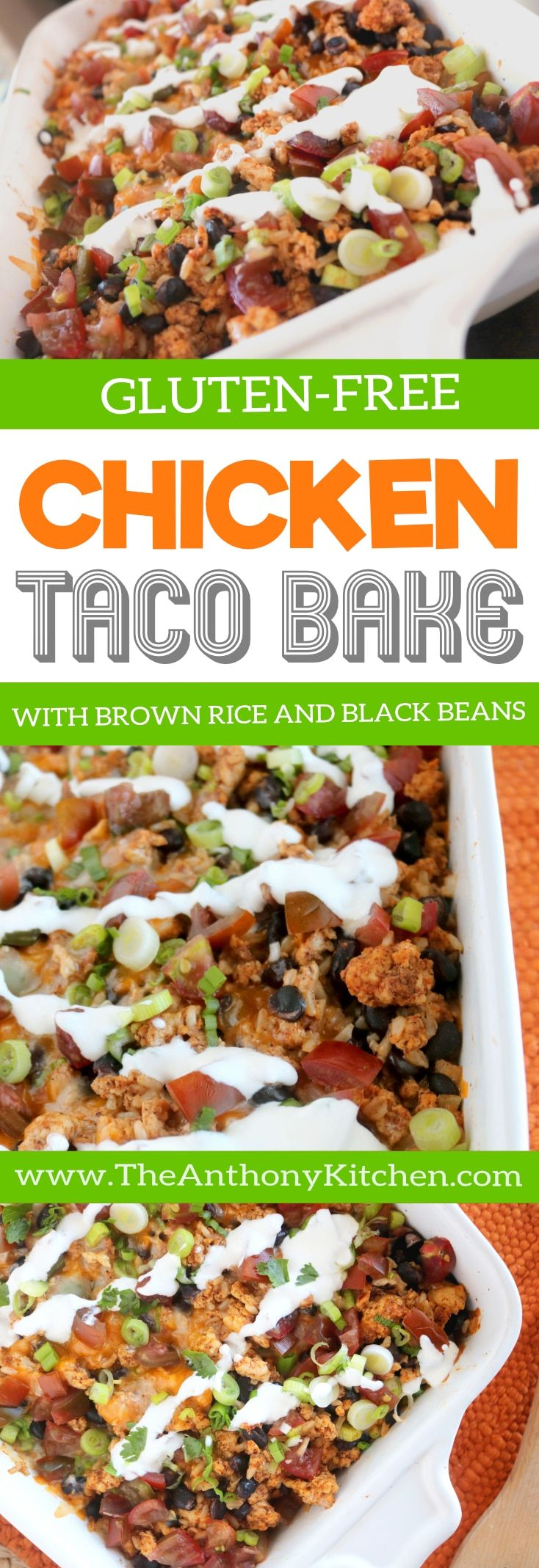 CHICKEN TACO BAKE RECIPE | A healthy, Tex-Mex casserole recipe featuring seasoning ground chicken, brown rice, black beans, and traditional taco toppings