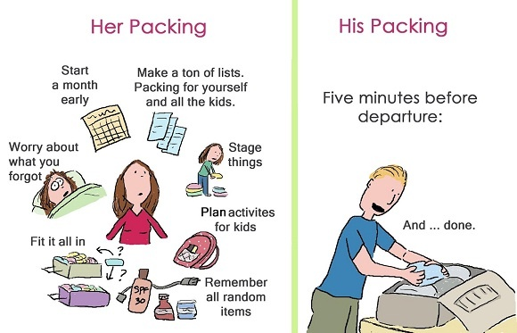 Funny Women Vs Men Packing. Men vs. Women Humor.