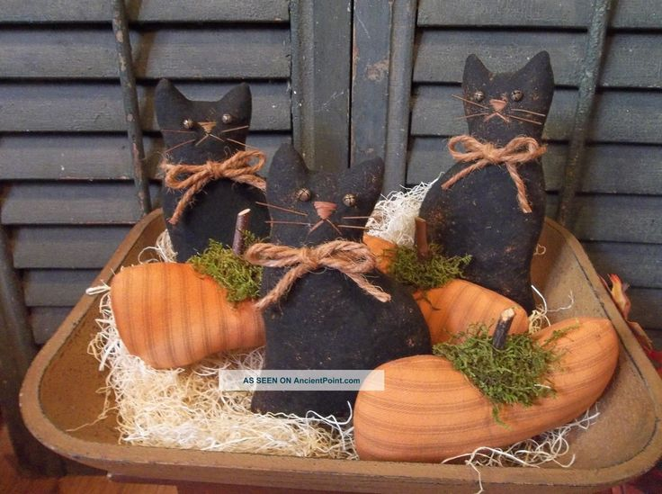 Gathering Of Primitive Handmade Pumpkins And Black Cats - Bowl Fillers/ornaments Primitives photo