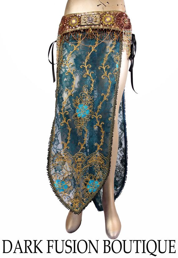 2 Panel Accent Skirt Teal Gold Copper Black by darkfusionboutique