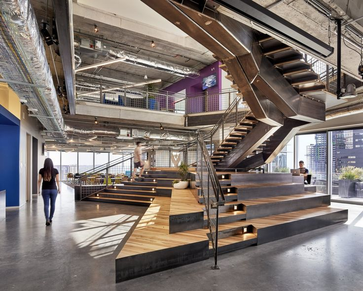 Great staircase design at Atlassian in Austin. Office Design by lauckgroup