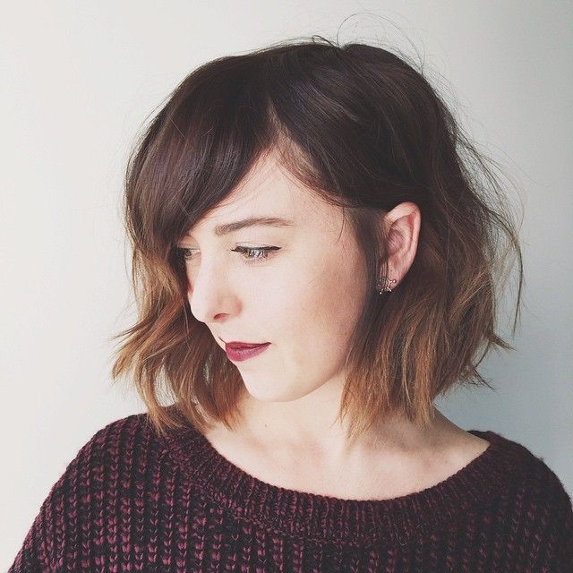 textured bob with a side bang