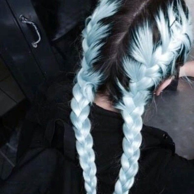 Pastel Blue Hair Dye With Black Roots