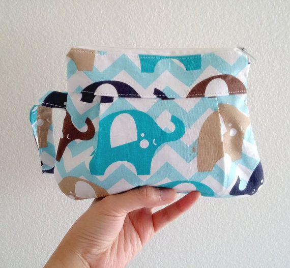 ClutchWristlet bag Make up bag  elephant by LittleWoolShop on Etsy, $15.00