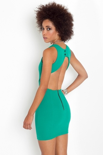 Wanted! Love the back:  Tanks Suits, Cutout Dresses, Back Dresses, Dresses Style, Chic Dresses, Amazing Color, Cut Outs, Green Dresses, Vintage Clothing