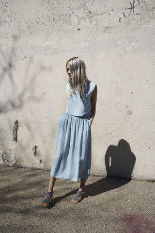 Jesse Kamm Ranch Skirt in Piscine Blue | Oroboro | Brooklyn, New York