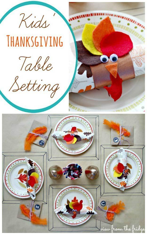 Kid's Thanksgiving Table Setting   Thanksgiving Table Settings to WOW Your Guests   Thanksgiving Decorations