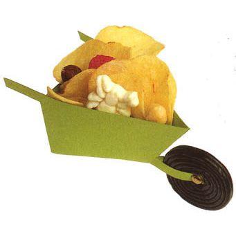 kruiwagen  met blaadjes (chips), een spin en wat nootjes of  een bramen snoepje. Een dropjojo is het wiel! Een leuke en lekkere herfst traktatie!