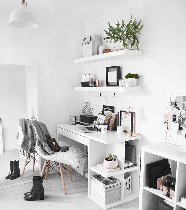 Kleines #Büro #weiß #mit #integrierten #Anordnungen – Wand Diy