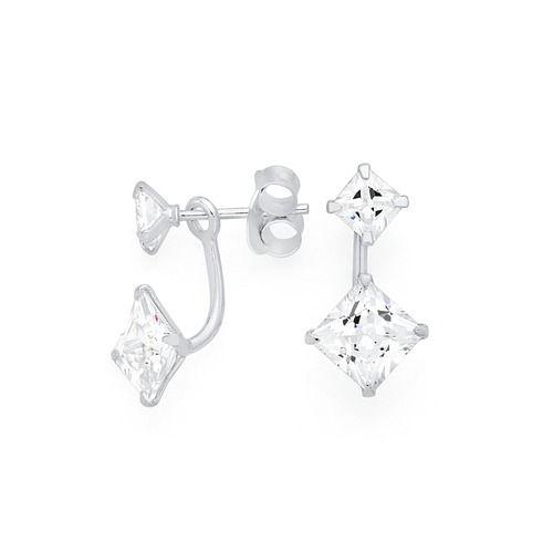 Sterling Silver Square Cubic Zirconia Swing Earrings
