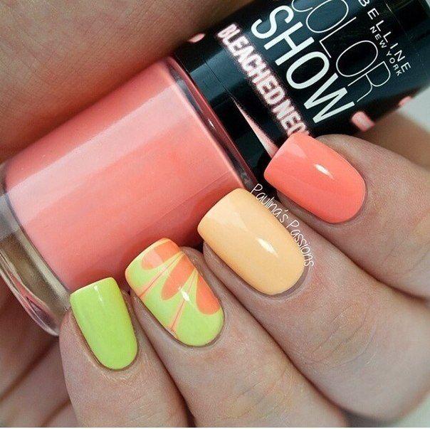 Beautiful summer nails, Bright summer nails, Colorful nails, Pastel nails, Perfect nails, Sea nails, Shellac nails 2016, Summer nails 2016