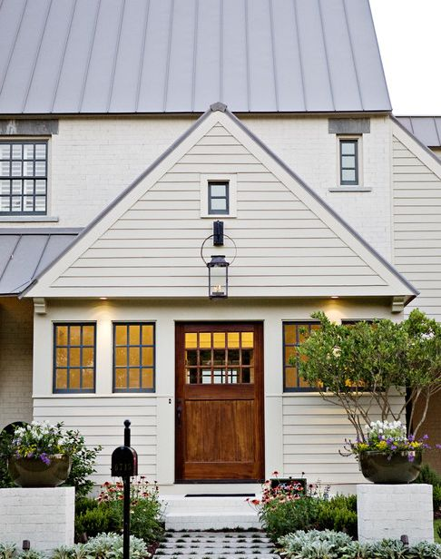 Make Your Front Door Pop With A Neutral Exterior Stain Color