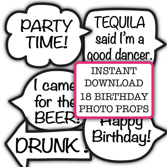 Funny Birthday Party Photo Booth Props INSTANT Download