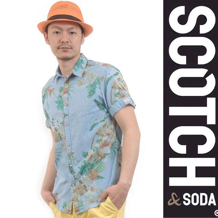 SCOTCH (スコッチアンドソーダ) シャツ 花柄 半袖 ライトブルー SC2115-31 Col.A sh-sc-279