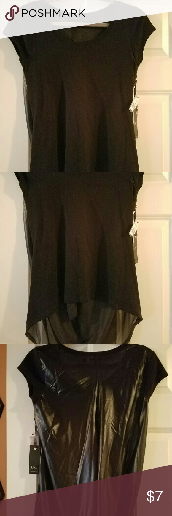 NWT, hi-low shirt, shiny sheer back Sz small, front 60% cotton/40% poly, back 100% poly Dex Tops Tunics