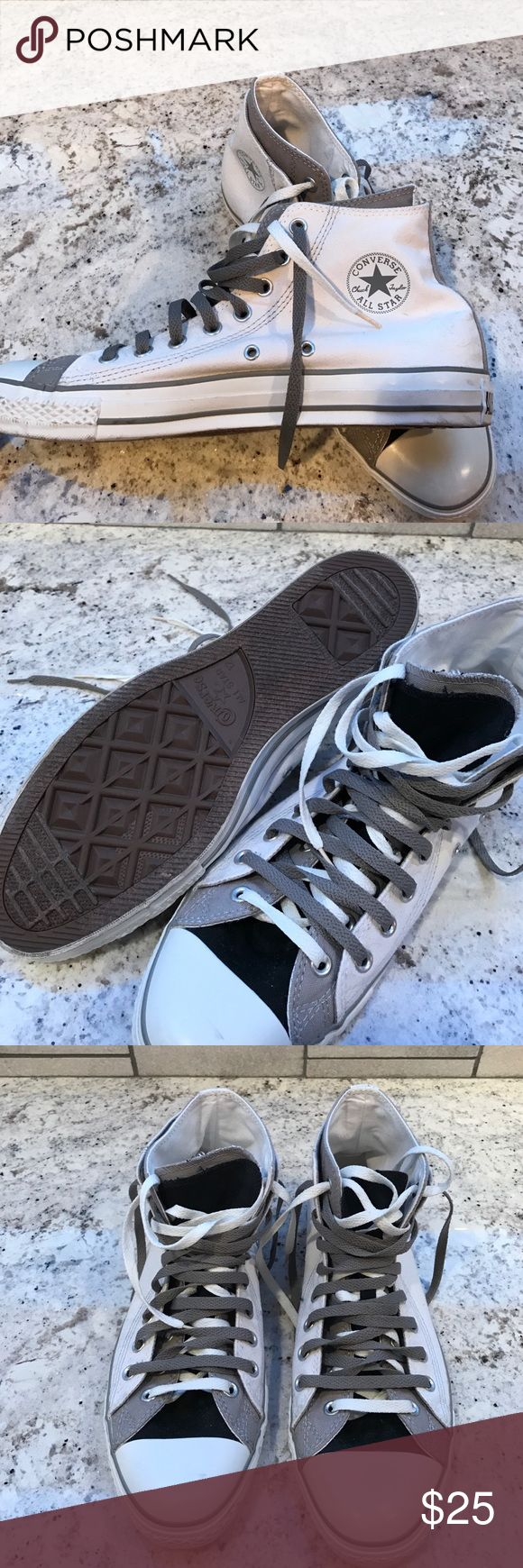 Size 12 Converse All Star Chuck Taylor high tops. Men's size 12. Two tongue (black/gray). Converse All Star. Worn twice. Color is white with gray and black tongues - 2 sets of laces gray and white per shoe. Smoke free home. Converse Shoes Sneakers
