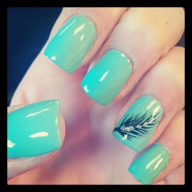 Tiffany blue feather accent nails  | Check out http://www.nailsinspiration.com for more inspiration!