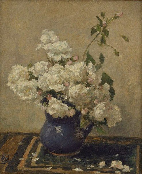"Rupert Bunny   Australia, France  b.29 Sep 1864  d. 25 May 1947  Flowers circa 1927 circa 1930 oil on canvas  45.7 x 38cm Signed  l.l. corner, black oil ""RCWB"" in monogram. Not dated. Exhibition History Flora: still life moving fast, Hazelhurst Regional Gallery and Arts Centre, 06 Dec 2008–01 Feb 2009 Art Gallery of NSW Collection 